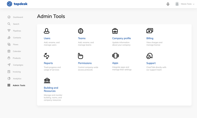 Tapdesk is customizable through admin tools