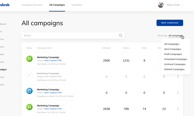 Tapdesk all campaigns view